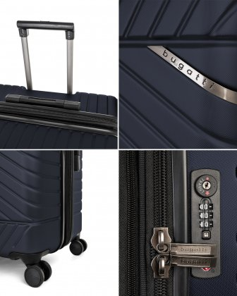 "MOSCOW -  30"" HARDSIDE CARRY-ON 100% POLYCARBONATE WITH TSA LOCK - NAVY - Bugatti"