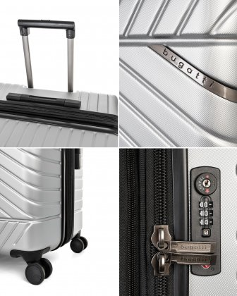 """MOSCOW -  30"""" HARDSIDE CARRY-ON 100% POLYCARBONATE WITH TSA LOCK - SILVER - Bugatti"""