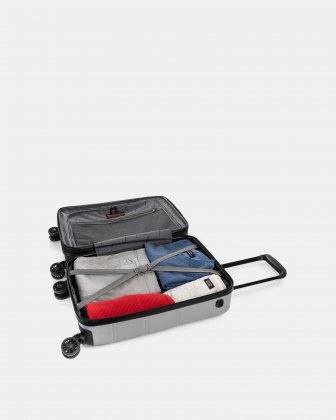 """LAX - 21.5"""" HARDSIDE CARRY-ON WITH integrated USB port - SILVER Swiss Mobility"""