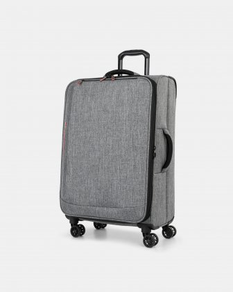 "YYZ - 26"" SOFTSIDE LUGGAGE WITH Double 360-degree spinner wheels - CHARCOAL Swiss Mobility"