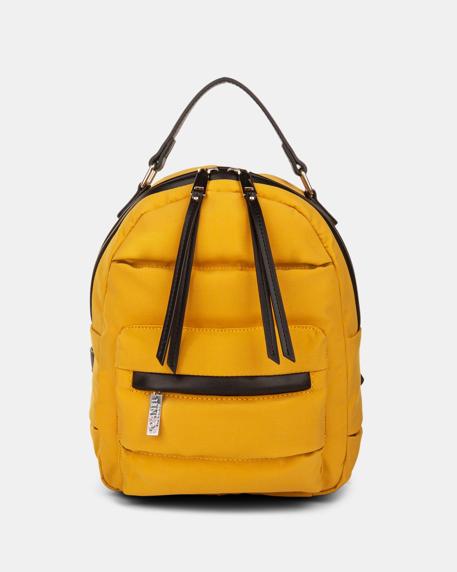 Hi Cloud - Quilted Nylon Backpack with Main zippered compartment - Mustard - Joanel - Zoom