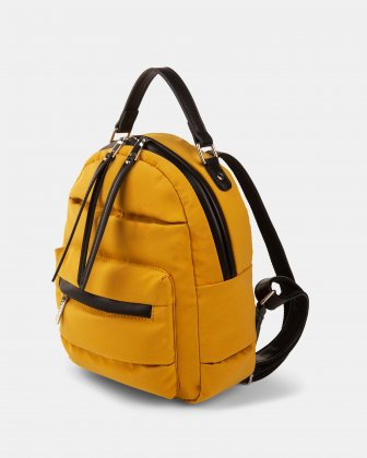 Hi Cloud - Quilted Nylon Backpack with Main zippered compartment - Mustard - Joanel