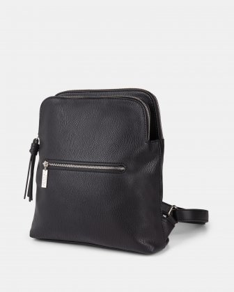Zoom - BACKPACK with TWO zippered main section - BLACK - Joanel