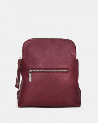 Zoom - BACKPACK with TWO zippered main section - Red Joanel