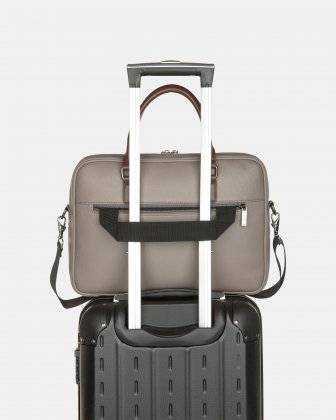 """Contrast - Briefcase with Padded laptop section – fits mots 14"""" - GREY - Bugatti"""