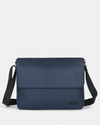 "Contrast - Messenger Bag WITH Padded laptop section - fits most 14"" - Navy Bugatti"