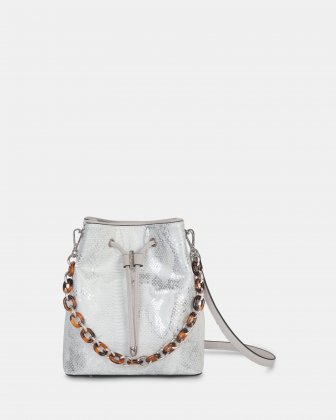 Duo - Satchel with adjustable and detachable crossbody strap - white/snake Céline Dion