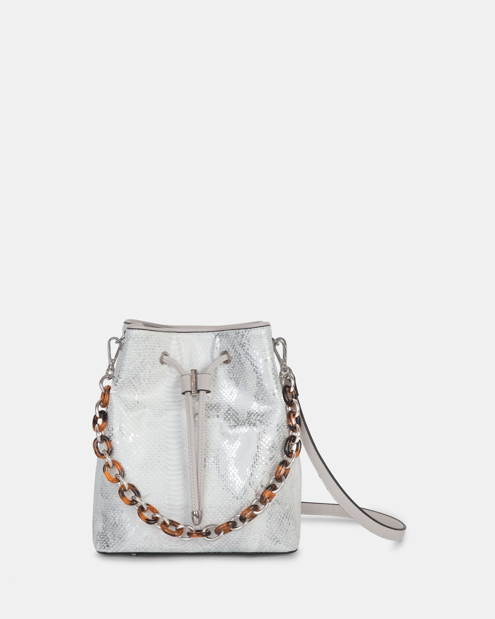 Duo - Satchel with adjustable and detachable crossbody strap - white/snake - Céline Dion - Zoom