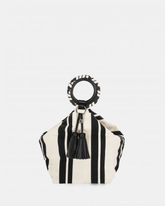 Svelto - Handle bag with zippered pocket and multiple organizational pockets - Black/stripe Céline Dion