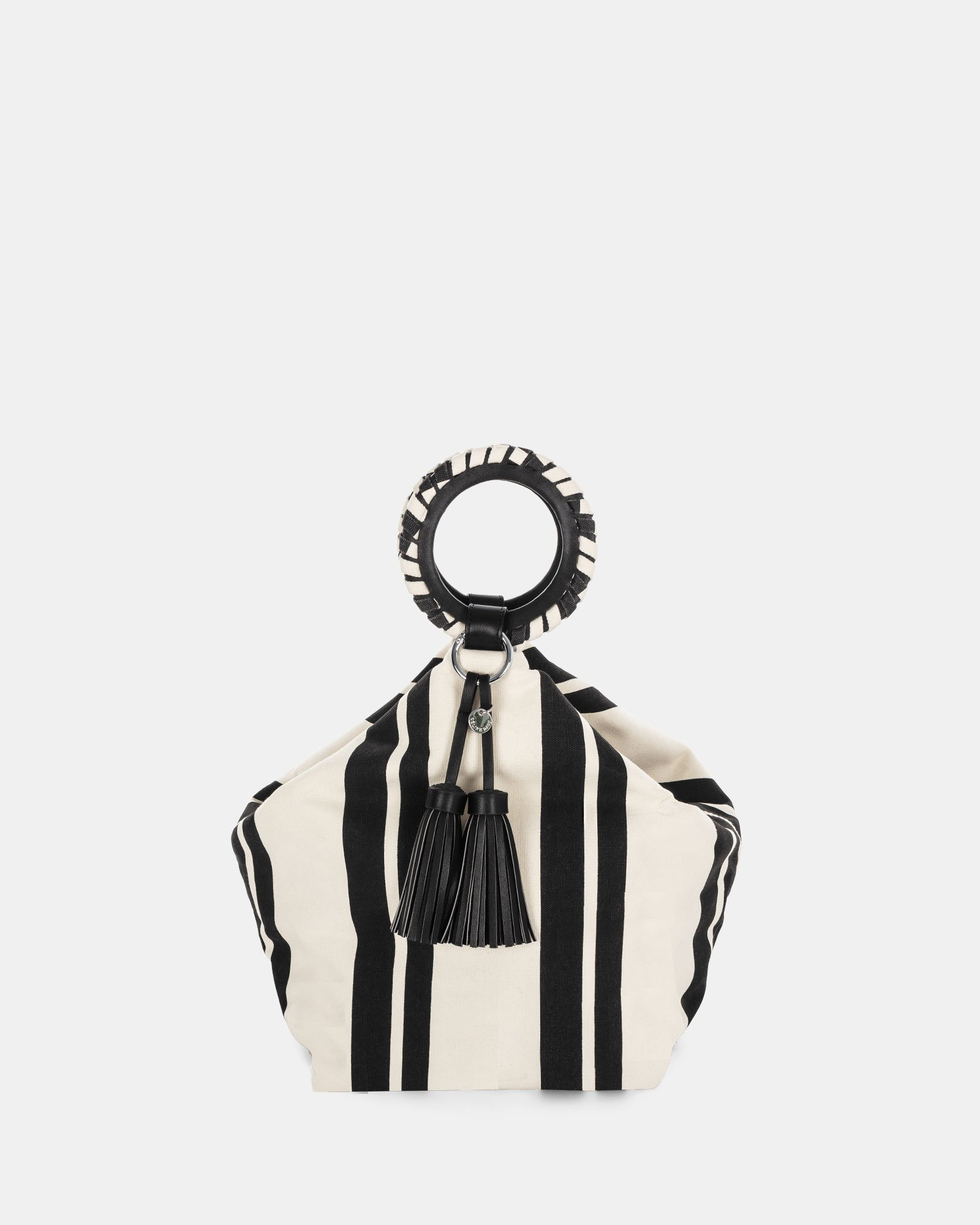 Svelto - Handle bag with zippered pocket and multiple organizational pockets - Black/stripe - Céline Dion - Zoom