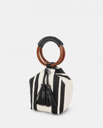 Svelto - Handle bag with zippered pocket and multiple organizational pockets - Black/stripe - Céline Dion