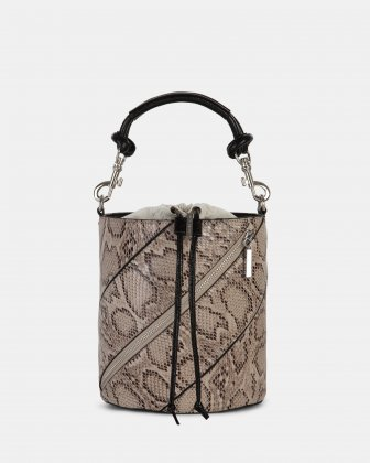 Vivo - Hobo bag Leather-like & Canvas with Adjustable and detachable crossbody strap - Natural Céline Dion