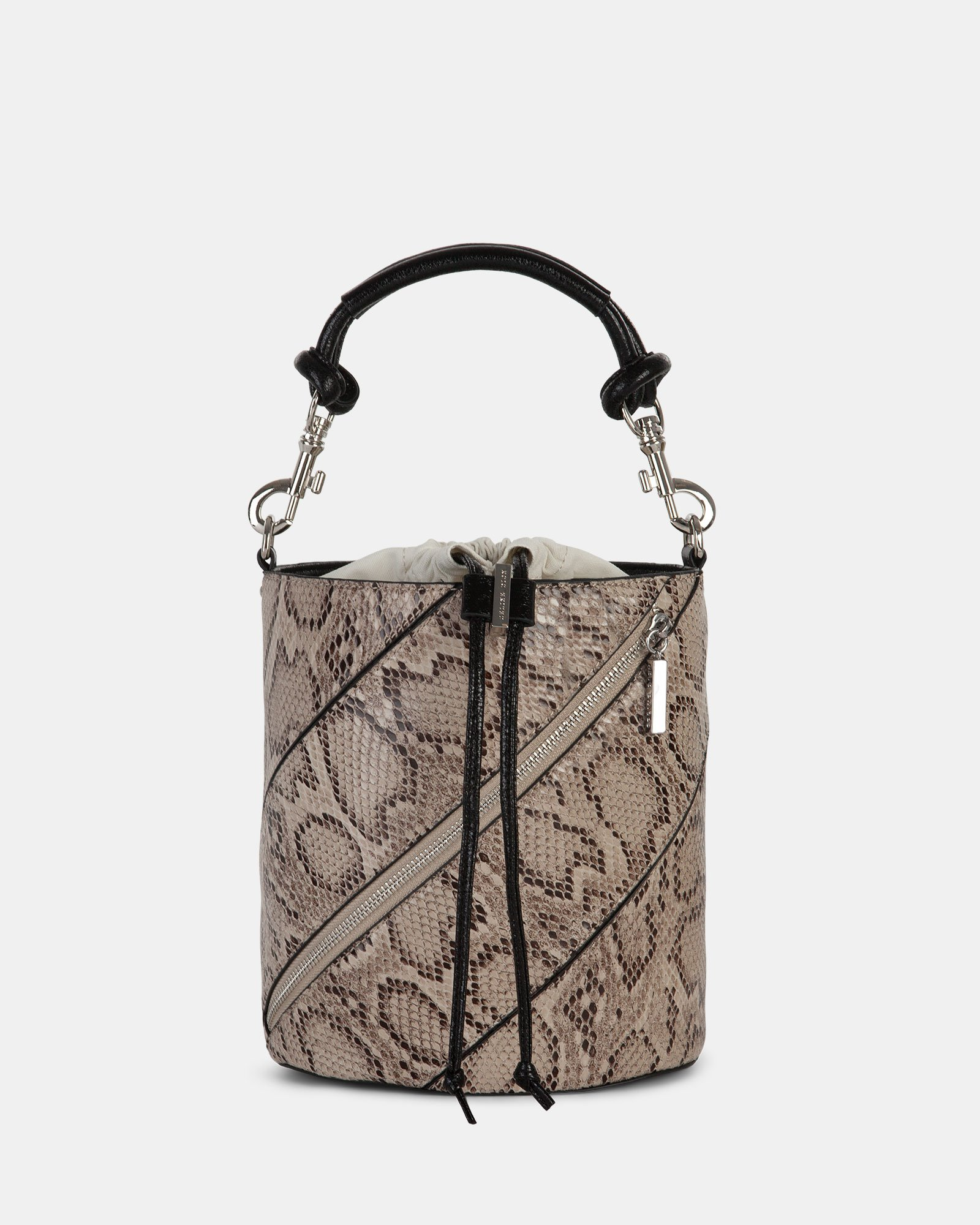 Vivo - Hobo bag Leather-like & Canvas with Adjustable and detachable crossbody strap - Natural - Céline Dion - Zoom