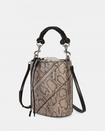 Vivo - Hobo bag Leather-like & Canvas with Adjustable and detachable crossbody strap - Natural - Céline Dion