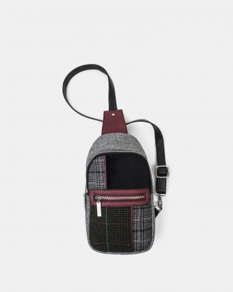 Brit Mix - Sling shoulder bag in woolen-like fabric - Black - Joanel