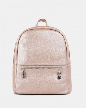 FALSETTO - LEATHER BACKPACK with RFID protection - ROSEGOLD Céline Dion