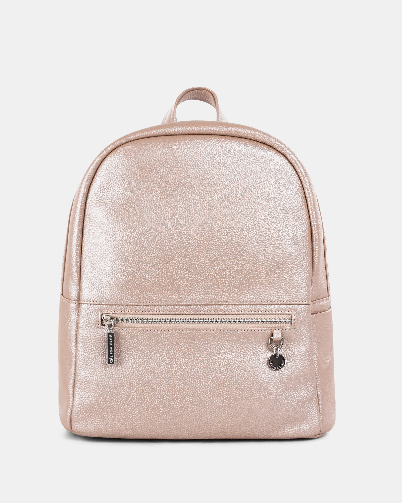 FALSETTO - LEATHER BACKPACK with RFID protection - ROSEGOLD - Céline Dion - Zoom