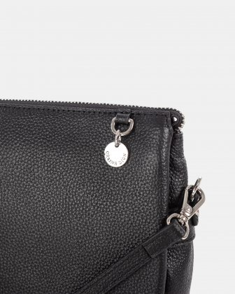 FALSETTO - LEATHER crossbody bag with RFID protection - BLACK Céline Dion