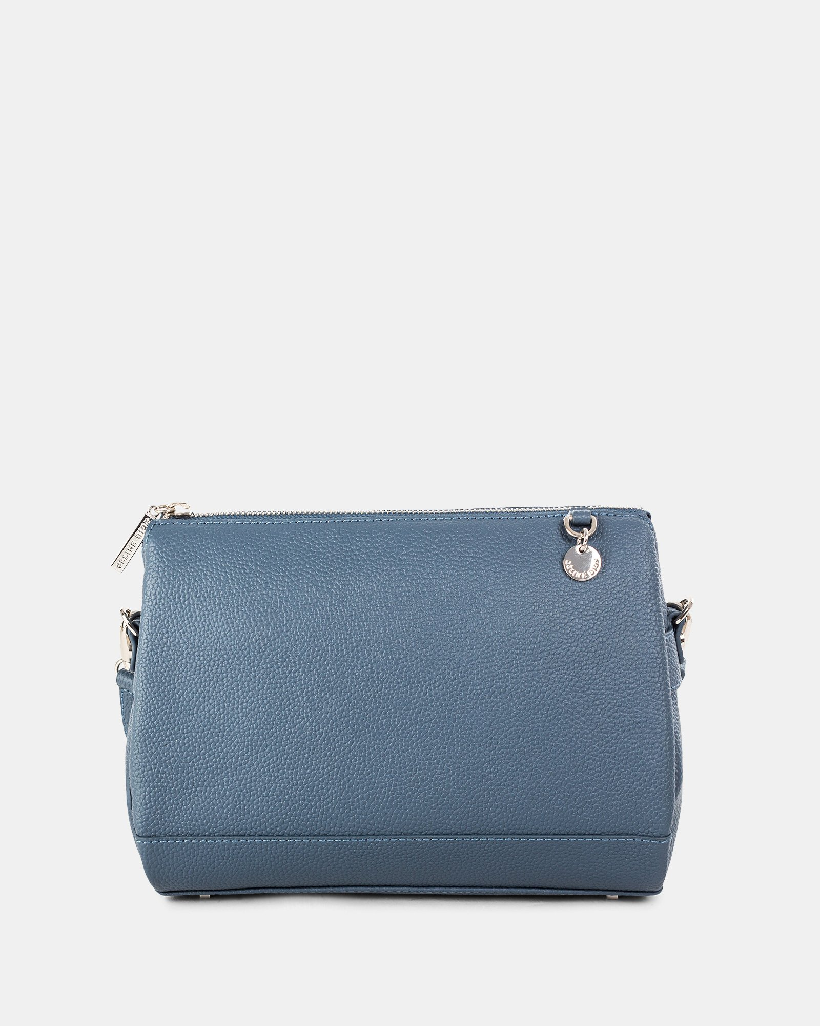 FALSETTO - LEATHER crossbody bag with RFID protection - denim - Céline Dion - Zoom