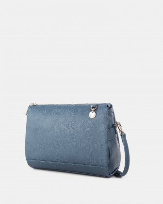 FALSETTO - LEATHER crossbody bag with RFID protection - denim Céline Dion