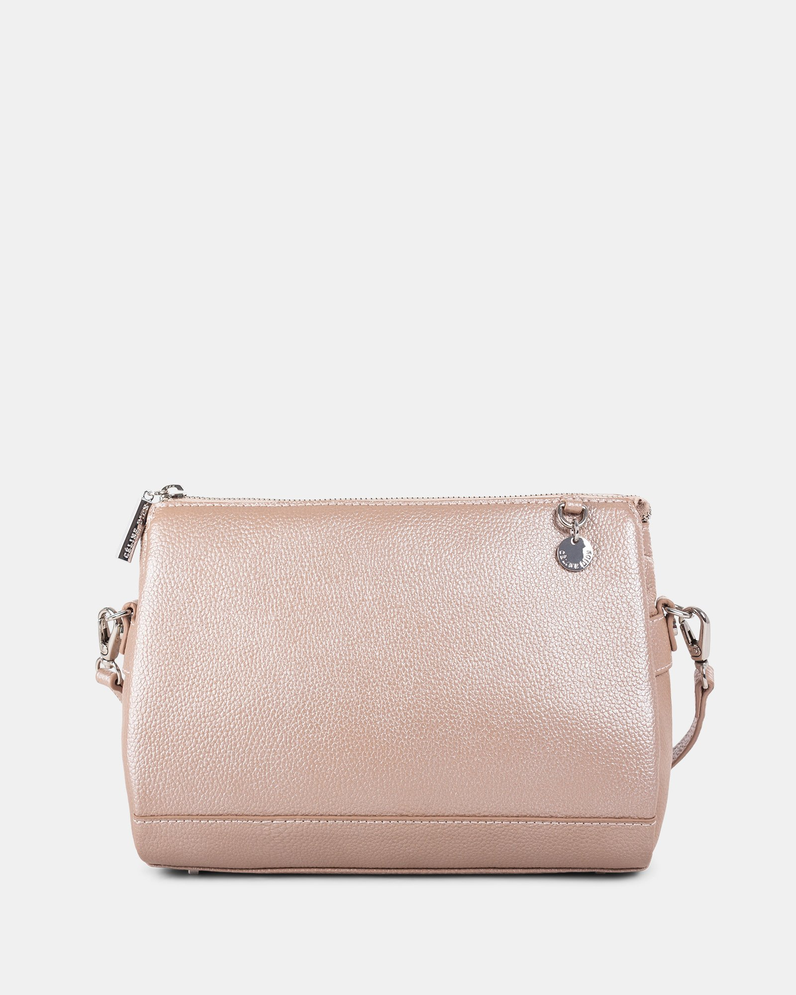 FALSETTO - LEATHER crossbody bag with RFID protection - Rosegold - Céline Dion - Zoom