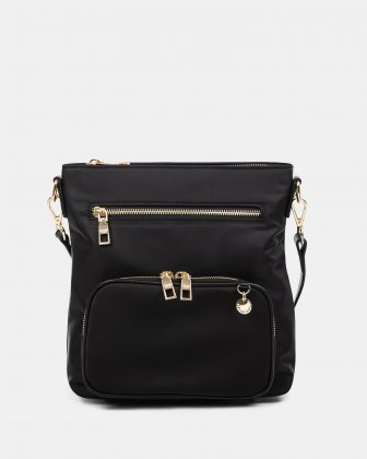 NYLON - CROSSBODY BAG WITH LEATHER TRIMS with RFID protection - Black Céline Dion