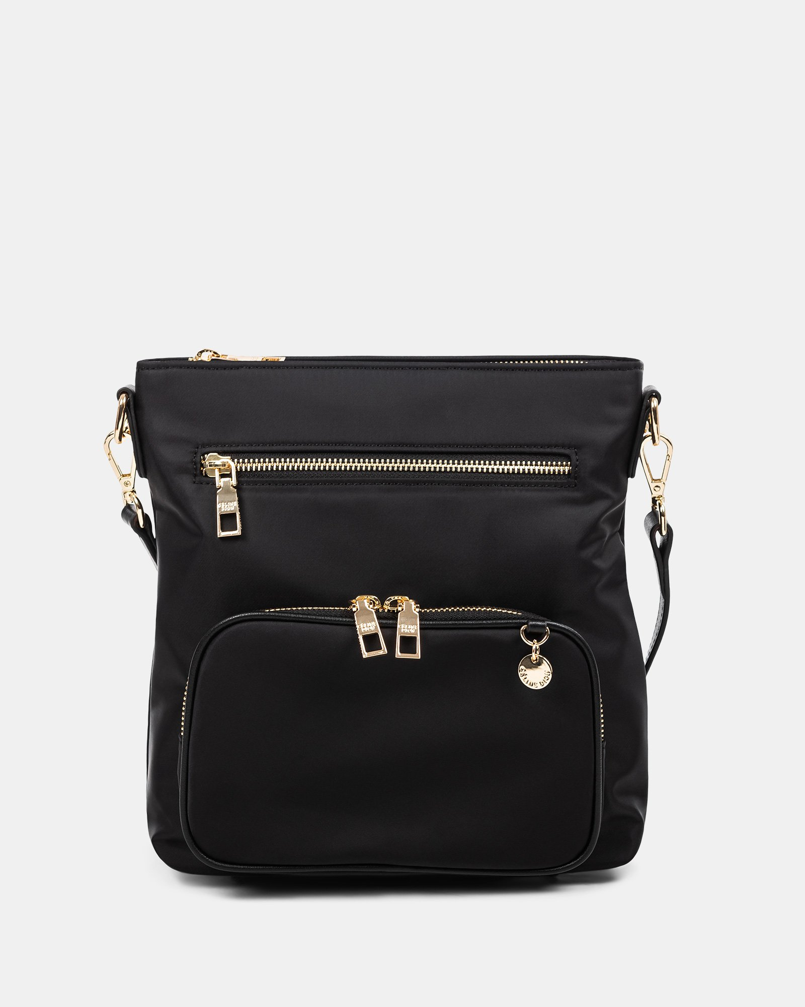NYLON - CROSSBODY BAG WITH LEATHER TRIMS with RFID protection - Black - Céline Dion - Zoom