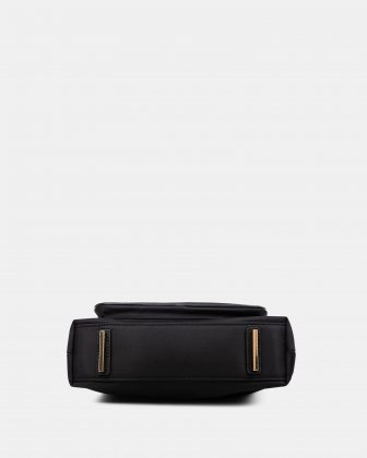 NYLON - CROSSBODY BAG WITH LEATHER TRIMS with RFID protection - Black - Céline Dion