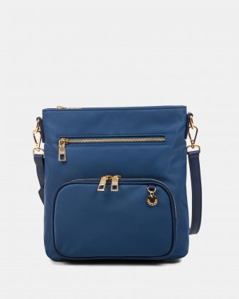 NYLON - CROSSBODY BAG WITH LEATHER TRIMS with RFID protection - denim Céline Dion