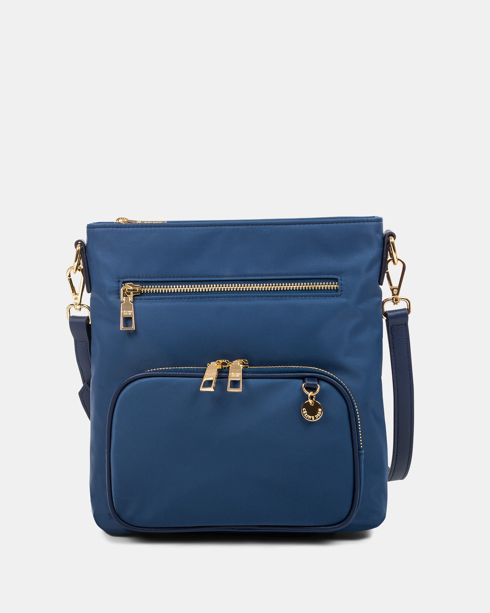 NYLON - CROSSBODY BAG WITH LEATHER TRIMS with RFID protection - denim - Céline Dion - Zoom