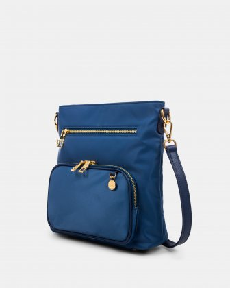 NYLON - CROSSBODY BAG WITH LEATHER TRIMS with RFID protection - denim - Céline Dion