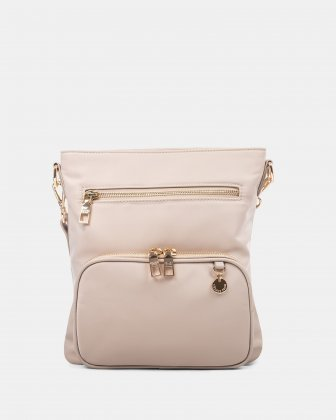 NYLON - CROSSBODY BAG WITH LEATHER TRIMS with RFID protection - taupe Céline Dion