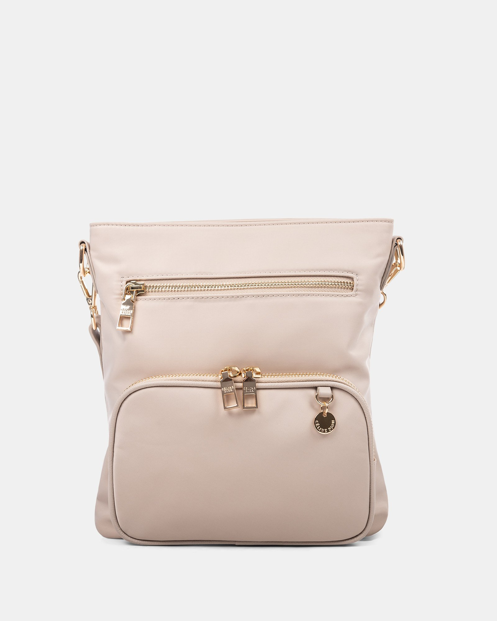 NYLON - CROSSBODY BAG WITH LEATHER TRIMS with RFID protection - taupe - Céline Dion - Zoom