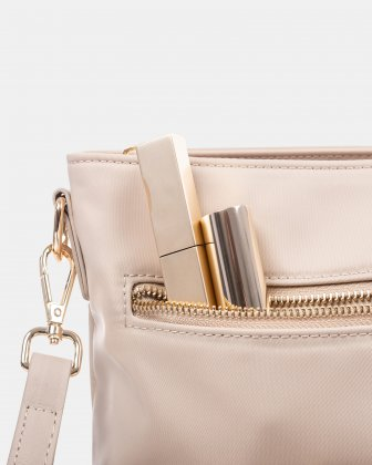 NYLON - CROSSBODY BAG WITH LEATHER TRIMS with RFID protection - taupe - Céline Dion
