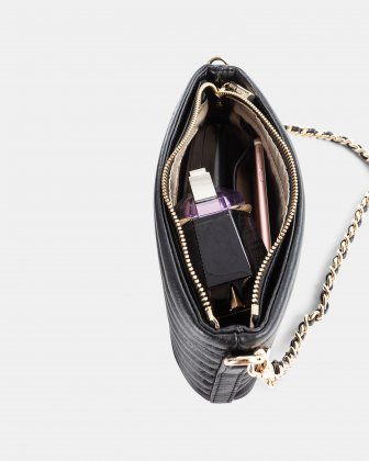 VIBRATO - Quilted leather crossbody with removable strap- BLACK - Céline Dion