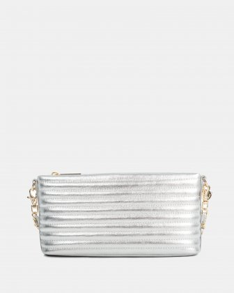 VIBRATO - Quilted leather crossbody with removable strap - silver Céline Dion