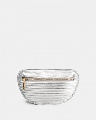 VIBRATO - LEATHER MONEY BELT WITH FRONT ZIPPER CLOSURE - SILVER Céline Dion