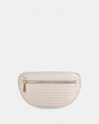 VIBRATO - LEATHER MONEY BELT WITH FRONT ZIPPER CLOSURE - VANILLA Céline Dion