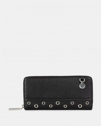 FALSETTO - LEATHER WALLET with Removable chain strap - BLACK Céline Dion