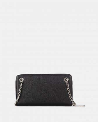 FALSETTO - LEATHER WALLET with Removable chain strap - BLACK - Céline Dion