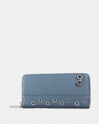 FALSETTO - LEATHER WALLET with Removable chain strap - denim Céline Dion