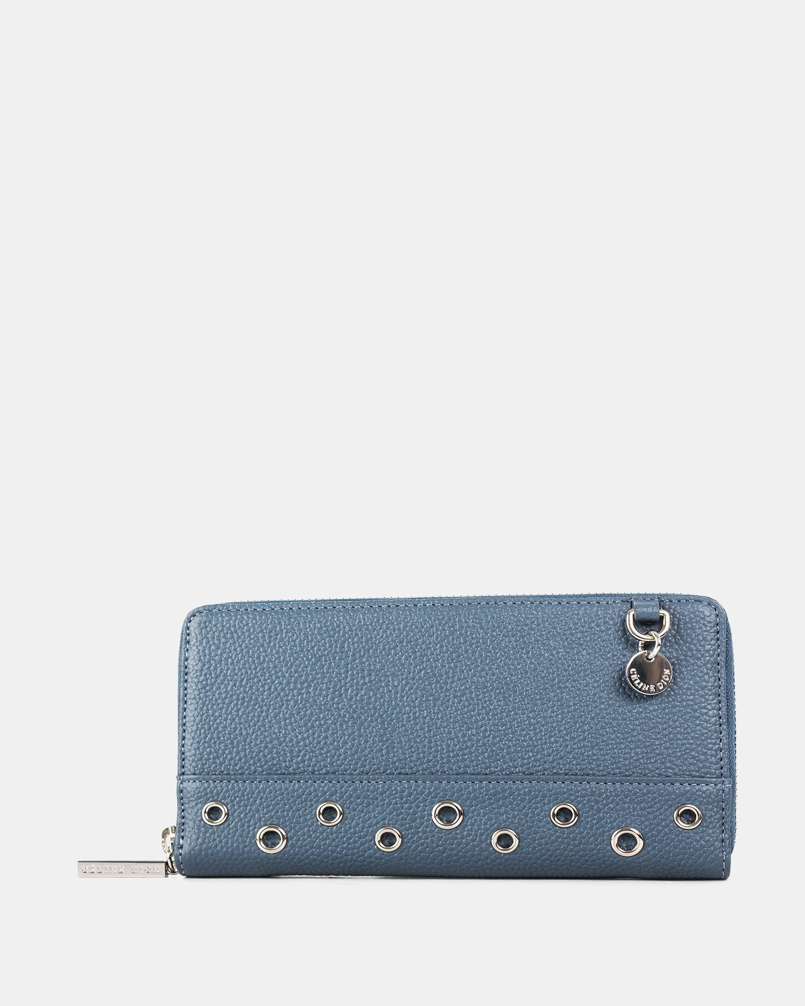 FALSETTO - LEATHER WALLET with Removable chain strap - denim - Céline Dion - Zoom