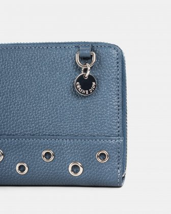 FALSETTO - LEATHER WALLET with Removable chain strap - denim - Céline Dion