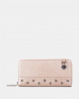 FALSETTO - LEATHER WALLET with Removable chain strap - rosegold Céline Dion
