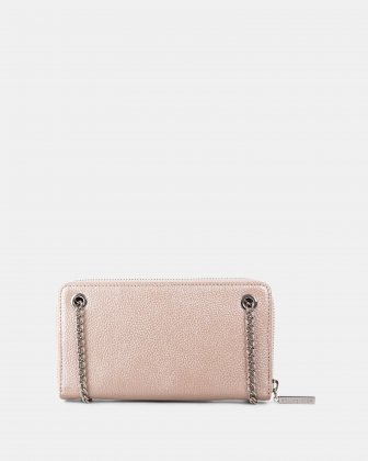 FALSETTO - LEATHER WALLET with Removable chain strap - rosegold - Céline Dion