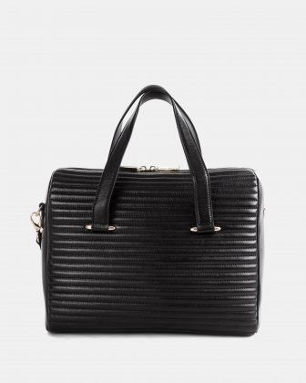 VIBRATO - LEATHER SATCHEL WITH Adjustable and removable shoulder strap - BLACK Céline Dion