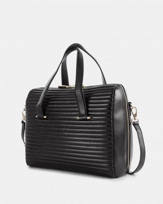VIBRATO - LEATHER SATCHEL WITH Adjustable and removable shoulder strap - BLACK - Céline Dion