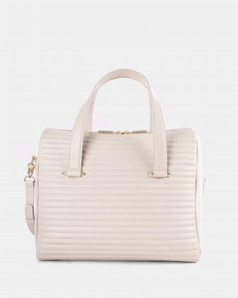 VIBRATO - LEATHER SATCHEL WITH Adjustable and removable shoulder strap - VANILLA Céline Dion