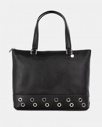 FALSETTO - LEATHER TOTE BAG WITH RFID PROTECTION - BLACK Céline Dion