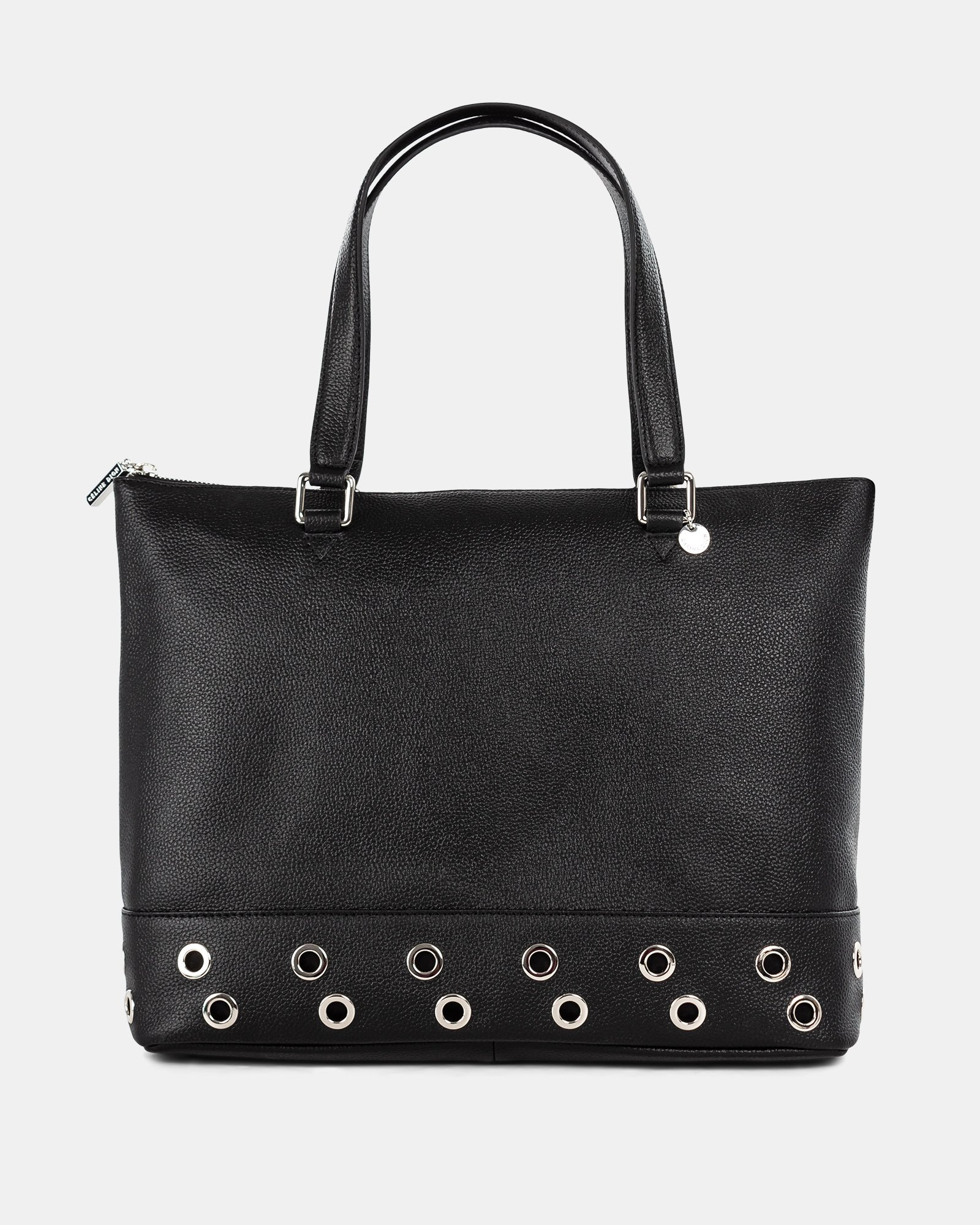FALSETTO - LEATHER TOTE BAG WITH RFID PROTECTION - BLACK - Céline Dion - Zoom